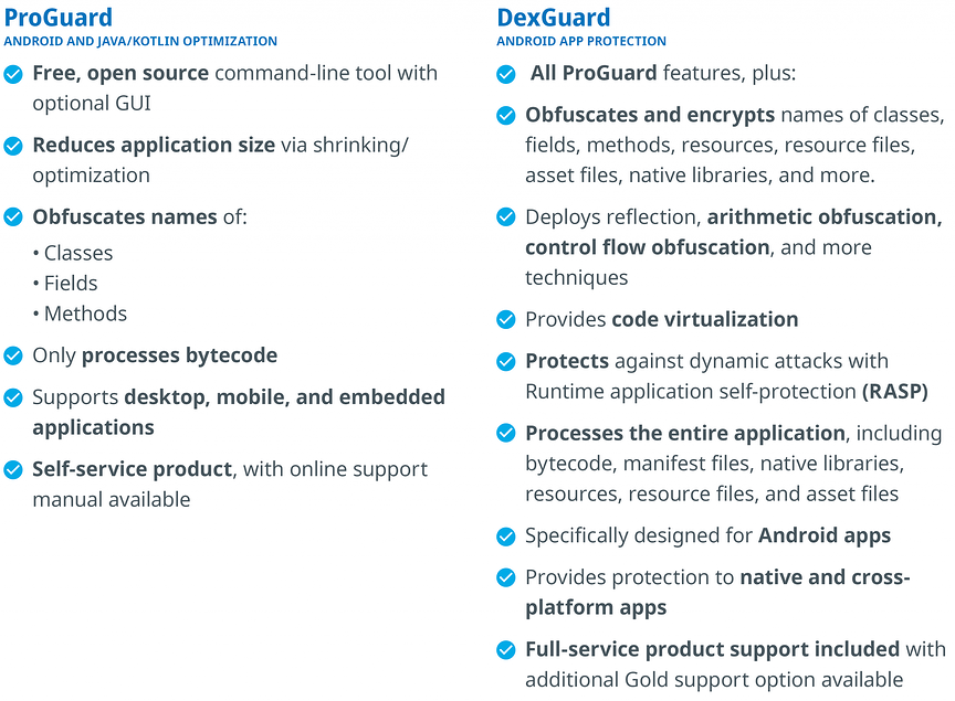 proguard v dexguard comparison table